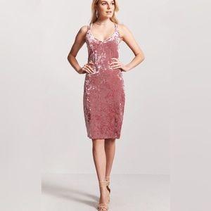 Derek Heart Crushed Velvet Pink Strappy Dress Size